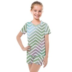 Ombre Zigzag 02 Kids  Mesh Tee And Shorts Set
