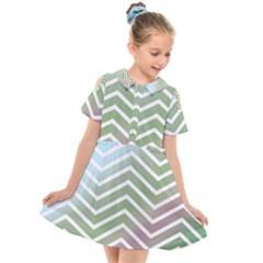 Ombre Zigzag 02 Kids  Short Sleeve Shirt Dress