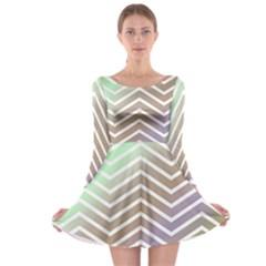 Ombre Zigzag 03 Long Sleeve Skater Dress