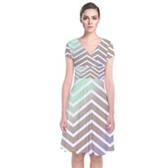 Ombre Zigzag 03 Short Sleeve Front Wrap Dress