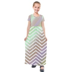 Ombre Zigzag 03 Kids  Short Sleeve Maxi Dress