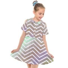 Ombre Zigzag 03 Kids  Short Sleeve Shirt Dress