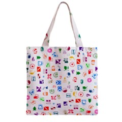 Colorful Abstract Symbols Zipper Grocery Tote Bag