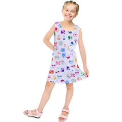 Colorful Abstract Symbols Kids  Tunic Dress