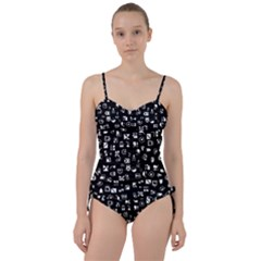 White On Black Abstract Symbols Sweetheart Tankini Set