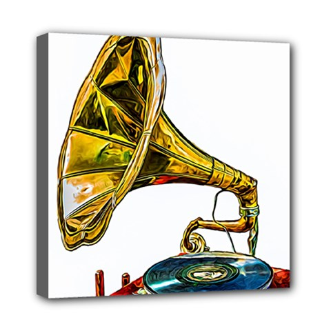 Vintage Gramophone Mini Canvas 8  X 8  (stretched)