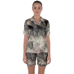 Vintage 1501540 1920 Satin Short Sleeve Pyjamas Set