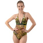 Vermont Fall Trees Side Halter Cut-Out One Piece Swimsuit