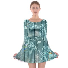 Green Tree Long Sleeve Skater Dress