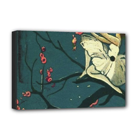 Girl And Flowers Deluxe Canvas 18  X 12  (stretched)