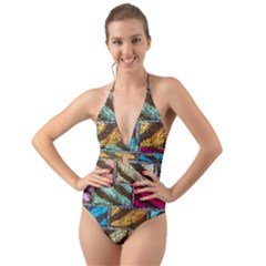 Colorful Painted Bricks Street Art Kits Art Halter Cut Out One Piece Swimsuit