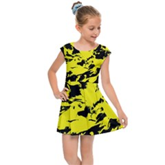 Yellow Black Abstract Military Camouflage Kids Cap Sleeve Dress