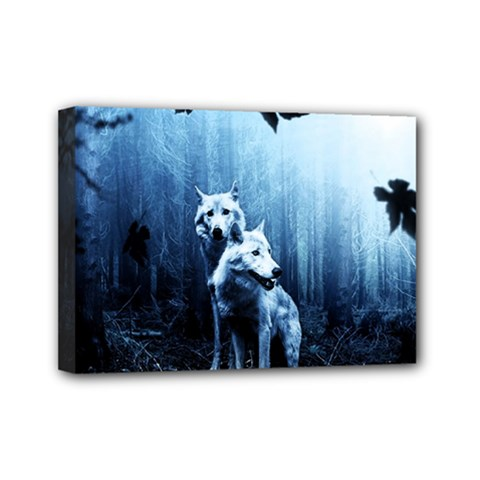 Wolfs Mini Canvas 7  X 5  (stretched)