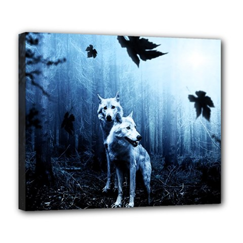 Wolfs Deluxe Canvas 24  X 20  (stretched)
