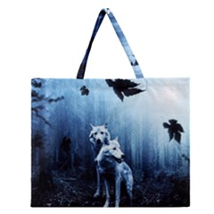 Wolfs Zipper Large Tote Bag