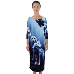 Wolfs Quarter Sleeve Midi Bodycon Dress