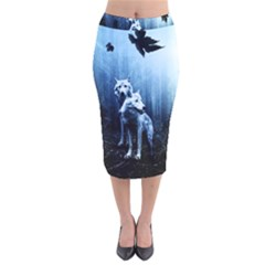 Wolfs Velvet Midi Pencil Skirt