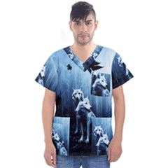 Wolfs Men s V Neck Scrub Top