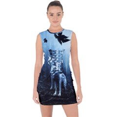 Wolfs Lace Up Front Bodycon Dress