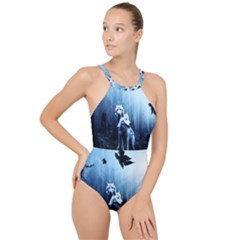 Wolfs High Neck One Piece Swimsuit