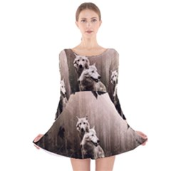 Wolfs Long Sleeve Velvet Skater Dress