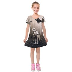 Wolfs Kids  Short Sleeve Velvet Dress