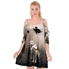 Wolfs Cutout Spaghetti Strap Chiffon Dress