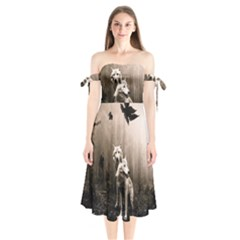 Wolfs Shoulder Tie Bardot Midi Dress