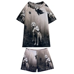 Wolfs Kids  Swim Tee And Shorts Set