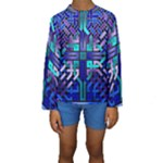 Blue Celtic Knot Square Kids  Long Sleeve Swimwear