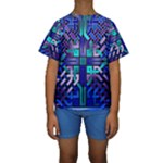 Blue Celtic Knot Square Kids  Short Sleeve Swimwear
