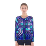 Blue Celtic Knot Square Women s Long Sleeve Tee