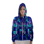 Blue Celtic Knot Square Hooded Windbreaker (Women)