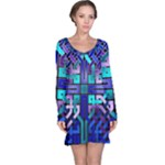 Blue Celtic Knot Square Long Sleeve Nightdress