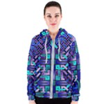 Blue Celtic Knot Square Women s Zipper Hoodie