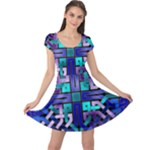 Blue Celtic Knot Square Cap Sleeve Dress