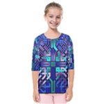 Blue Celtic Knot Square Kids  Quarter Sleeve Raglan Tee