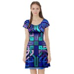Blue Celtic Knot Square Short Sleeve Skater Dress