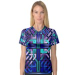 Blue Celtic Knot Square V-Neck Sport Mesh Tee