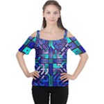 Blue Celtic Knot Square Cutout Shoulder Tee