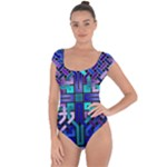 Blue Celtic Knot Square Short Sleeve Leotard