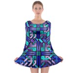Blue Celtic Knot Square Long Sleeve Skater Dress
