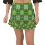 Mod Yellow Green Squares Pattern Fishtail Mini Chiffon Skirt