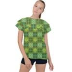 Mod Yellow Green Squares Pattern Ruffle Collar Chiffon Blouse