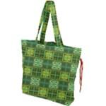 Mod Yellow Green Squares Pattern Drawstring Tote Bag