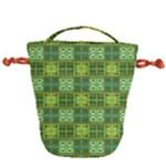 Mod Yellow Green Squares Pattern Drawstring Bucket Bag