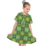 Mod Yellow Green Squares Pattern Kids  Short Sleeve Shirt Dress
