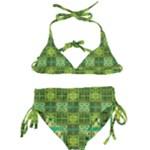 Mod Yellow Green Squares Pattern Kids  Classic Bikini Set
