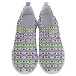Retro Blue Purple Green Olive Dot Pattern No Lace Lightweight Shoes