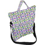 Retro Blue Purple Green Olive Dot Pattern Fold Over Handle Tote Bag